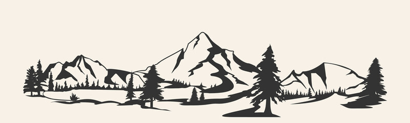 Mountains .Mountain range silhouette isolated. Mountain  illustration Wall mural