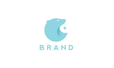 A minimalist vector polar bear logo.