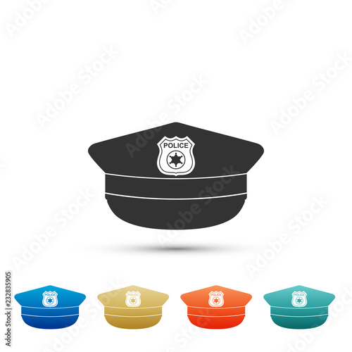 f58eeafb937 Police cap with cockade icon isolated on white background. Police ...