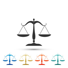Scales of justice icon isolated on white background. Court of law symbol. Balance scale sign. Set elements in colored icons. Flat design. Vector Illustration