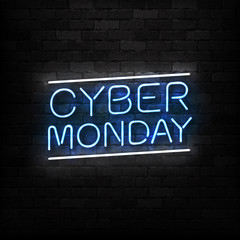 Vector realistic isolated neon sign of Cyber Monday logo for decoration and covering on the wall background. Concept of electronics market, sale and discount.
