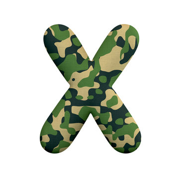 Army letter X - Upper-case 3d Camo font - Army, war or survivalism concept