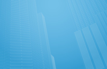 Perspective 3d architecture background with wireframe skyscrapers. Vector illustration.