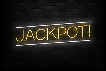 Vector realistic isolated neon sign of Jackpot logo for decoration and covering on the wall background. Concept of slot machine and casino.
