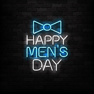 Vector realistic isolated neon sign of Happy Men's Day logo for decoration and covering on the wall background.