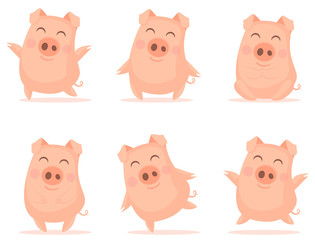 Vector little cartoon pigs characters posing in different situations. Illustrations of set cute piggys. Piglet illustration for card, posters, invitations, children room, decoration