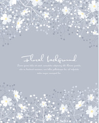 Vector illustration gray background from silhouettes of blossoms. Floral background with space for text