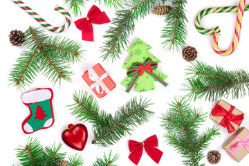 Christmas background with fir branches isolated on white background. Top view. Flat lay