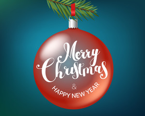 Merry christmas and happy new year greeting card. Transparent glass xmas bauble