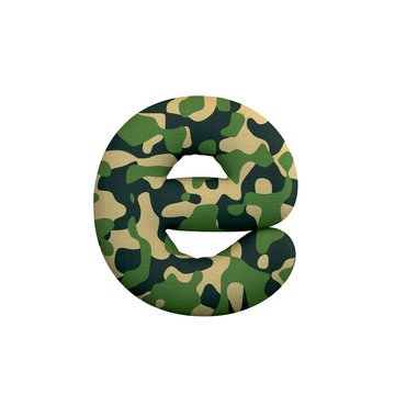 Army letter E - Lower-case 3d Camo font - Army, war or survivalism concept