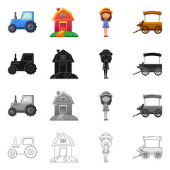 Vector illustration of farm and agriculture icon. Collection of farm and plant stock vector illustration.