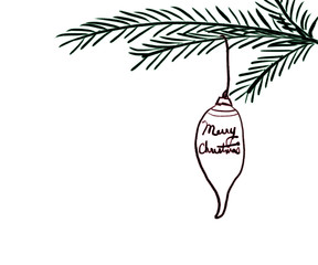 Hand Drawn Pine Boughs with Ornament