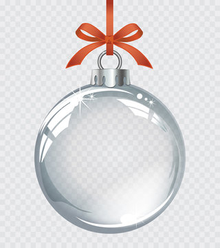 Vector realistic transparent silver Christmas ball on a light abstract background