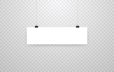 Blank hanging photo frames or poster templates isolated on transparent background. Photo picture hanging, frame paper gallery portfolio illustration vector