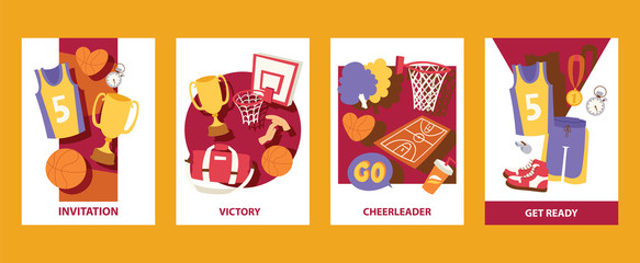Basketball cads vector illustration. Invitation. Victory. Cheerleader. Get ready. Uniform, trophy, medal, basket, ball, stopwatch, pom, whistle. For banner, poster, invitation.