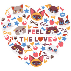 Cute cats in heart shape vector illustration. Cartoon animal faces. Funny pets for banner, flyer, invitation, brochure, poster. Domestic kittens with emotions. Feel the love.