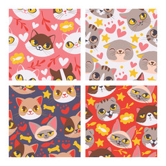 Cat face seamless patten vector illustartion. Cute cartoon pet heads background.. Lovely kittens with fish and bones. Domestic pets with different emotions. Happy and smiling kitties.
