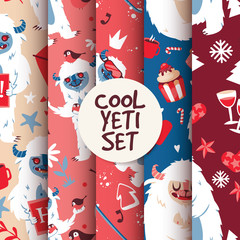 Cool yeti seamless pattern set vector illustration with kind creature with cup of coffee and cake.