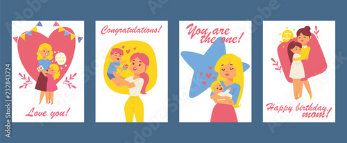 beautiful women with children happy mothers day card happy birthday greeting card vector
