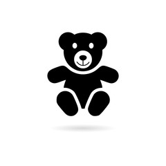 Black Cute smiling teddy bear icon or logo