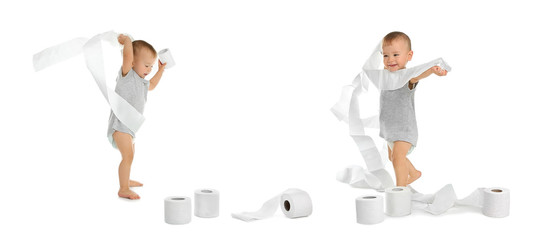 Set with cute little boy and toilet paper on white background
