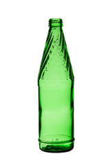 empty glass bottle of green color on a white background