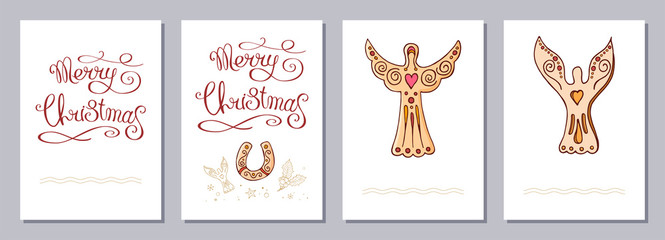 Christmas greeting card or invitation set A6 size.