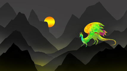 fantasy dragon creature on black mountain panorama with sunset or sunrise in digital art illustration, science fiction animal monster or imaginary beast book cover design