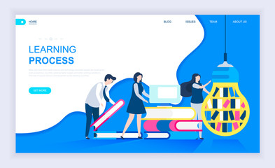 Modern flat design concept of Learning Process with decorated small people character for website and mobile website development. UI and UX design. Landing page template. Vector illustration.