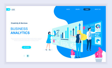 Modern flat design concept of Business Analytics with decorated small people character for website and mobile website development. UI and UX design. Landing page template. Vector illustration.