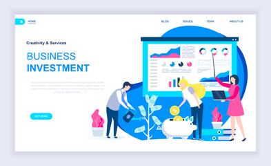 Modern flat design concept of Business Investment with decorated small people character for website and mobile website development. UI and UX design. Landing page template. Vector illustration.
