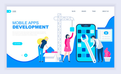 Modern flat design concept of App Development with decorated small people character for website and mobile website development. UI and UX design. Landing page template. Vector illustration.