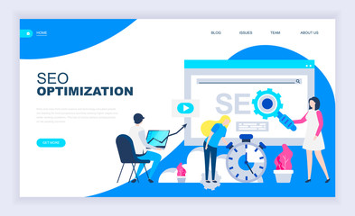 Modern flat design concept of Seo Optimization with decorated small people character for website and mobile website development. UI and UX design. Landing page template. Vector illustration.