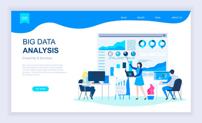 Modern flat design concept of Big Data Analysis with decorated small people character for website and mobile website development. UI and UX design. Landing page template. Vector illustration.