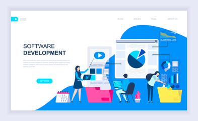 Modern flat design concept of Software Development with decorated small people character for website and mobile website development. UI and UX design. Landing page template. Vector illustration.