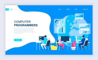 Modern flat design concept of Computer Programmers with decorated small people character for website and mobile website development. UI and UX design. Landing page template. Vector illustration.