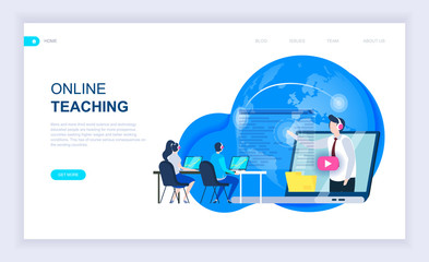 Modern flat design concept of Online Teaching with decorated small people character for website and mobile website development. UI and UX design. Landing page template. Vector illustration.