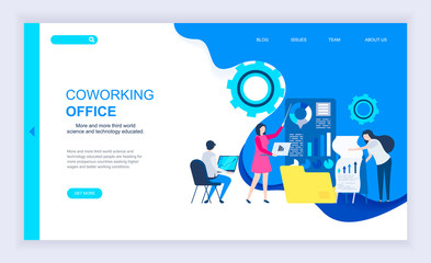 Modern flat design concept of Coworking Office with decorated small people character for website and mobile website development. UI and UX design. Landing page template. Vector illustration.