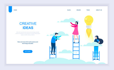 Modern flat design concept of Creative Idea with decorated small people character for website and mobile website development. UI and UX design. Landing page template. Vector illustration.