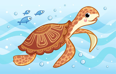 The sea turtle swims along the sea among fish and waves.