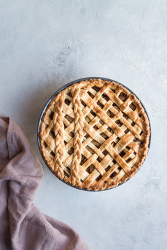 Apple pie with pink towel