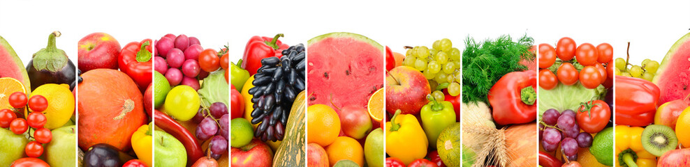 Photo sur Plexiglas Fruit Collection fresh fruits and vegetables isolated on white background. Panoramic collage.