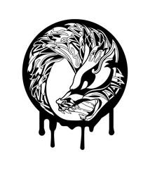 Wolf Fenrir Head Circle Logo Emblem