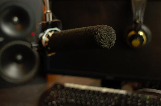 A shotgun microphone in a recording studio
