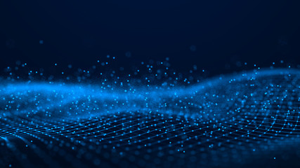 Wave of particles. Futuristic blue dots background with a dynamic wave. Big data. 3d rendering.