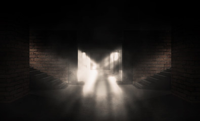 Background of an empty room with brick walls and concrete floor. Empty room, stairs up, piles, smoke, smog, neon lights, lights