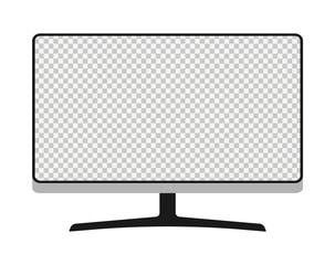 Thin monitor frame vector with blank white screen isolated