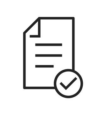 Icon of approved document. Checklist, file, document. Paperwork concept vector