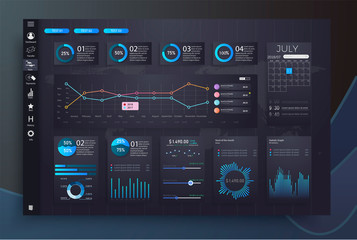 Infographic dashboard template with flat design graphs and charts. Processing and analysis of data. Modern modern infographic vector template with statistics graphs and finance charts Fototapete