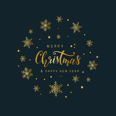 Vintage Christmas greeting card design. Hand lettering quote and sketched golden snowflakes are perfect for presents ideas, posters, banners, prints, brochures etc. Vector illustration EPS 10